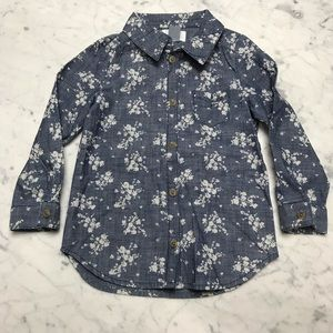 Old Navy Floral Chambray Long Sleeve Button Down